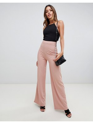 Boohoo slinky ribbed wide leg in nude