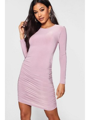 Boohoo Slinky Ruched Side Bodycon Dress