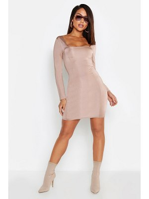 Boohoo Slinky Seam Detail Long Sleeve Bodycon Dress