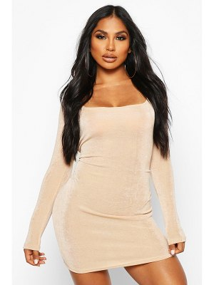 Boohoo Slinky Square Neck Long Sleeve Mini Dress