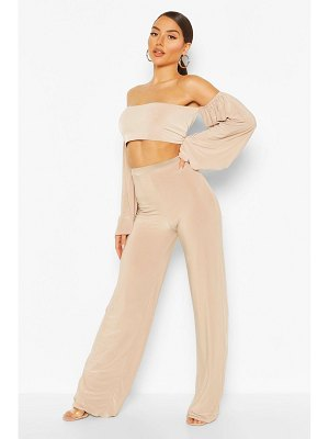 Boohoo Slinky Volume Sleeve Top & Wide Leg Pants Two-Piece
