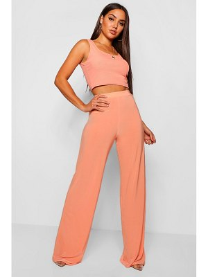 Boohoo High Waist Slinky Wide Leg Pants