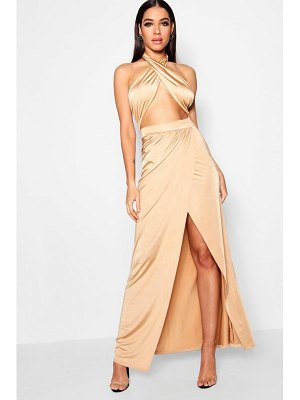 Boohoo Slinky Wrap Top Thigh Split Maxi Dress