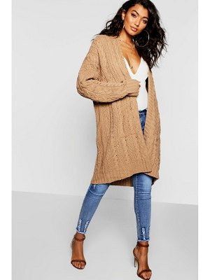 Boohoo Slouchy Cable Knit Cardigan