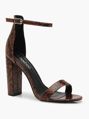 Boohoo Snake 2 Part Block Heels