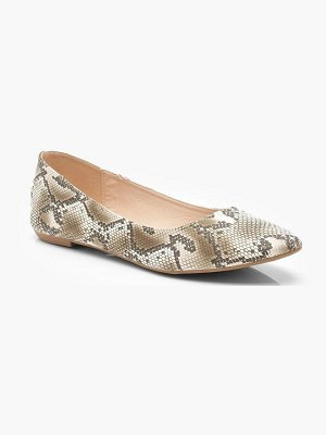 Boohoo Snake Basic Ballet Pumps