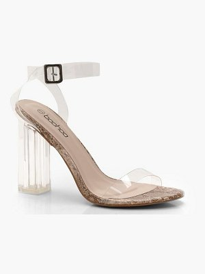Boohoo Snake Clear 2 Part Block Heels