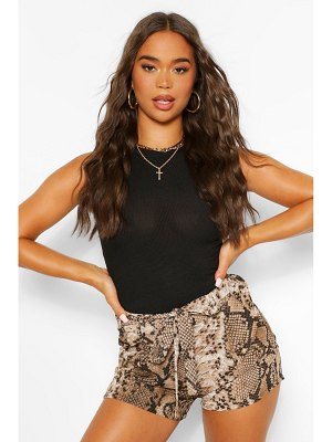 Boohoo Snake Print Belted Shorts