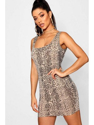 Boohoo Snake Print Bodycon Mini Dress