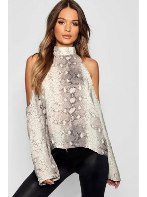 Boohoo Snake Print Cold Shoulder Blouse