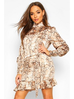 Boohoo Snake Print Cowl High Neck Mini Dress