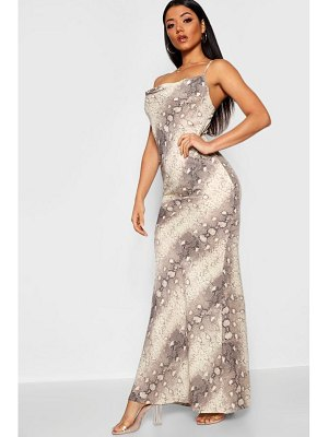 Boohoo Snake Print Cowl Neck Maxi Dress