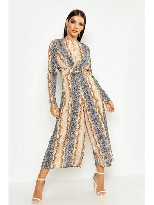 Boohoo Snake Print Knot Front Jumpsuit