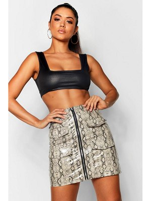 Boohoo Snake Print Leather Look A Line Mini Skirt