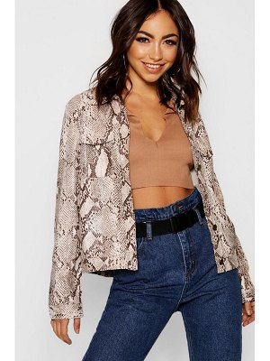Boohoo Snake Print Leather Look Trucker Jacket