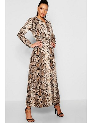 Boohoo Snake Print Maxi Shirt Dress