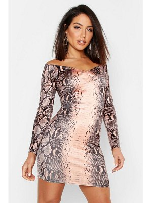 Boohoo Snake Print Off The Shoulder Bodycon Dress