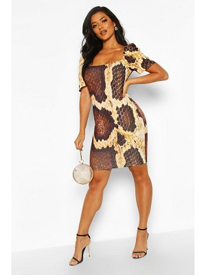 Boohoo Snake Print Puff Sleeve Square Neck Mini Bodycon