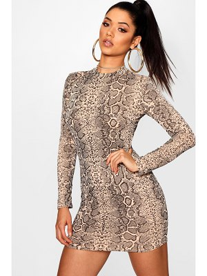 Boohoo Snake Print Roll Neck Mini Dress