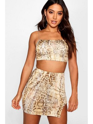 Boohoo Snake Print Split Front Skirt Co-Ord