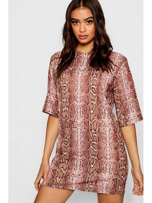 Boohoo Snake Print T-Shirt Dress