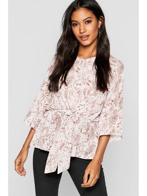 Boohoo Snake Print Tie Front Blouse
