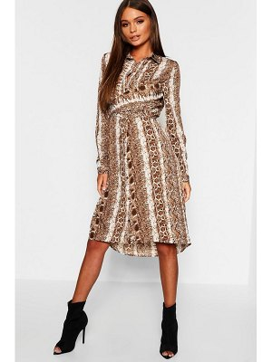 Boohoo Snake Print Twist Front Midi Shirt Dress