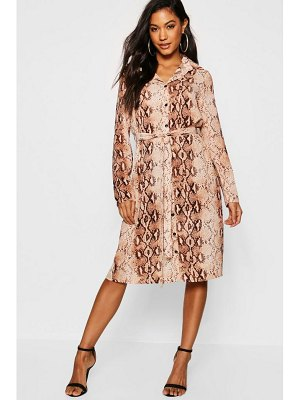Boohoo Snake Print Woven Belted Shirt Dress