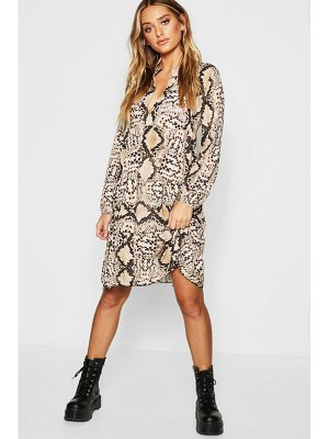 Boohoo Snake Ruffle Hem Smock Dress
