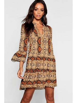 Boohoo Snake Ruffle Shift Dress