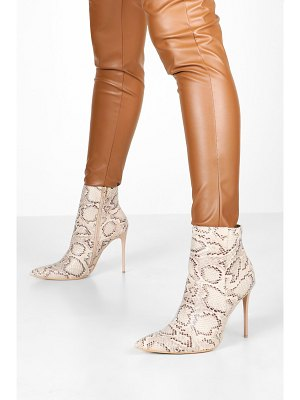 Boohoo Snake Stiletto Heel Pointed Toe Ankle Boots