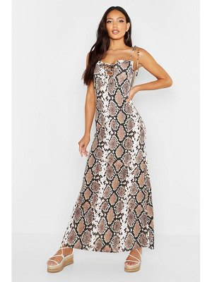 Boohoo Snake Tie Lace Front Maxi Dress