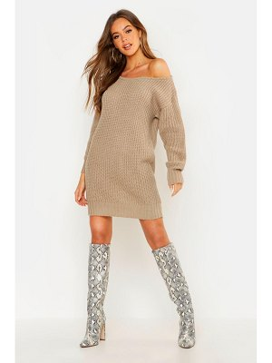 Boohoo Soft Knit Slash Neck Sweater Dress