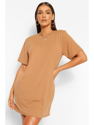 Boohoo Soft Rib Shoulder Pad T-Shirt Dress