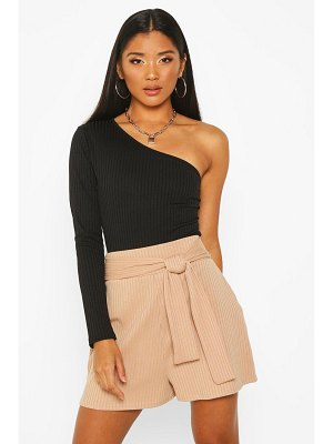 Boohoo Soft Ribbed Tie Front Shorts