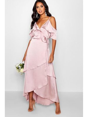 BOOHOO Sophia Satin Ruffle Wrap Maxi Dress