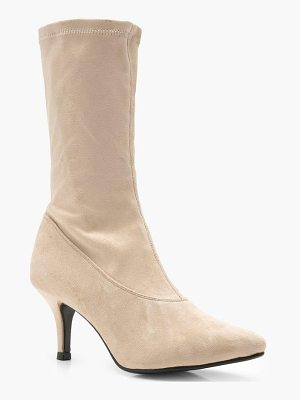 BOOHOO Sophie Low Heel Pointed Sock Boots