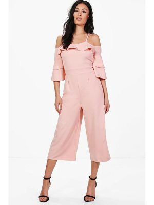Boohoo Ruffle Cut Shoulder Culotte Jumpsuit