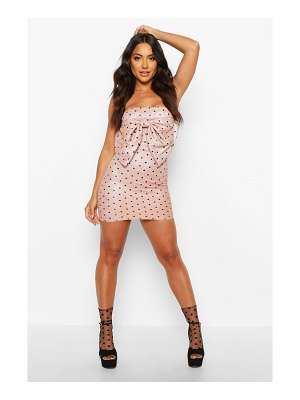 Boohoo Sparkle Polka Dot Bow Mini Dress