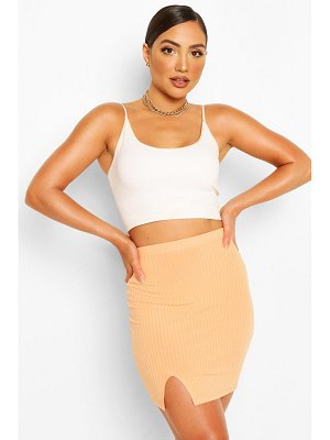 Boohoo Split Front Jersey Mini Skirt