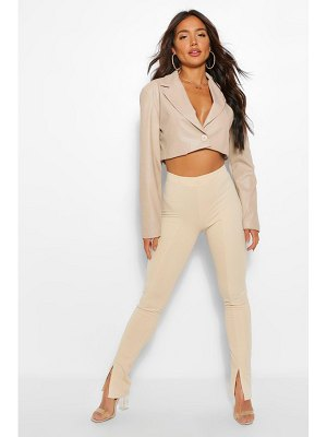 Boohoo Split Front Stretch High Waisted Pants