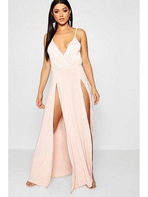 Boohoo Split Skirt Wrap Front Maxi Dress