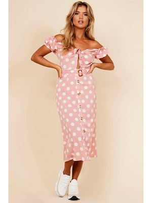 Boohoo Spot Puff Sleeve Button Detail Midi Dress