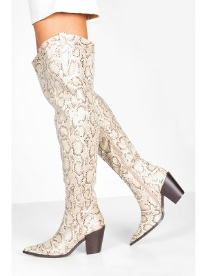 Boohoo Square Block Heel Pointed Toe Thigh High Boots
