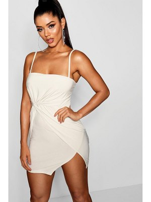Boohoo Square Neck Knot Front Bodyon Dress