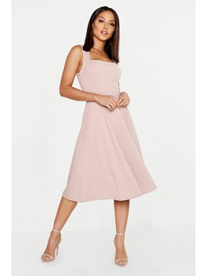 Boohoo Square Neck Midi Skater Dress