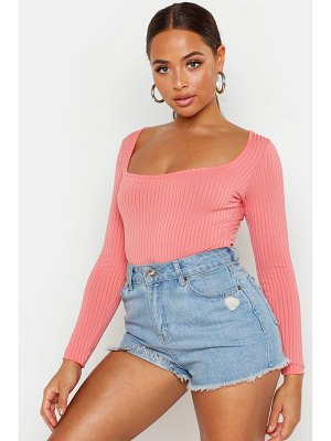 Boohoo Square Neck Rib Knit Long Sleeve Bodysuit