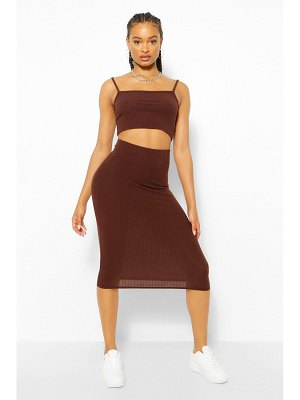 Boohoo Square Neck Strappy Midi Skirt Two-Piece Set