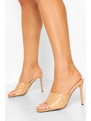Boohoo Square Toe Quilted Mules