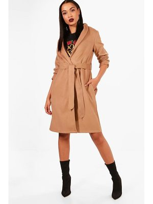 Boohoo Stacey Belted Wool Look Coat